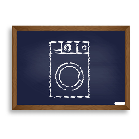 major household appliance: Washing machine sign. White chalk icon on blue school board with shadow as background. Isolated. Illustration