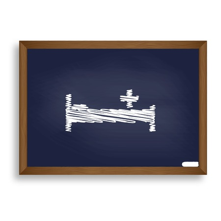 Hospital sign illustration. White chalk icon on blue school board with shadow as background. Isolated.
