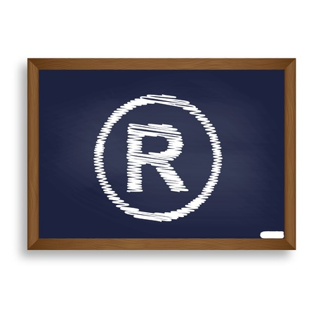 dispensation: Registered Trademark sign. White chalk icon on blue school board with shadow as background. Isolated. Illustration