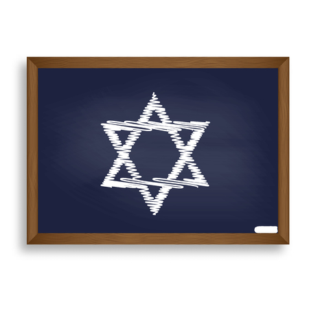 magen: Shield Magen David Star. Symbol of Israel. White chalk icon on blue school board with shadow as background. Isolated.