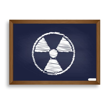 radiological: Radiation Round sign. White chalk icon on blue school board with shadow as background. Isolated. Illustration
