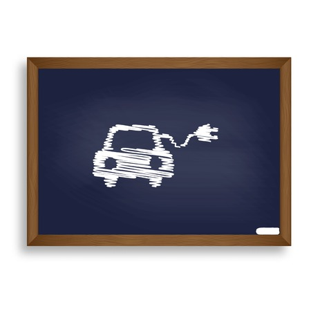 echnology: Eco electric car sign. White chalk icon on blue school board with shadow as background. Isolated.