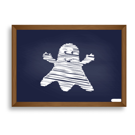 Ghost isolated sign. White chalk icon on blue school board with shadow as background. Isolated.
