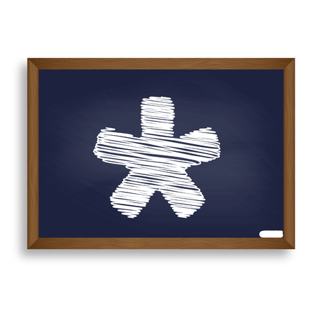 reference point: Asterisk star sign. White chalk icon on blue school board with shadow as background. Isolated. Illustration