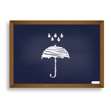 nylon: Umbrella with water drops. Rain protection symbol. Flat design style. White chalk icon on blue school board with shadow as background. Isolated. Illustration