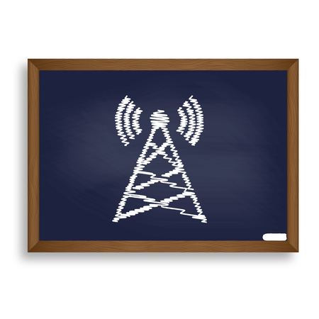 tv tower: Antenna sign illustration. White chalk icon on blue school board with shadow as background. Isolated.