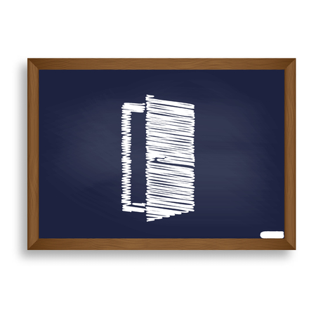 Door sign illustration. White chalk icon on blue school board with shadow as background. Isolated.