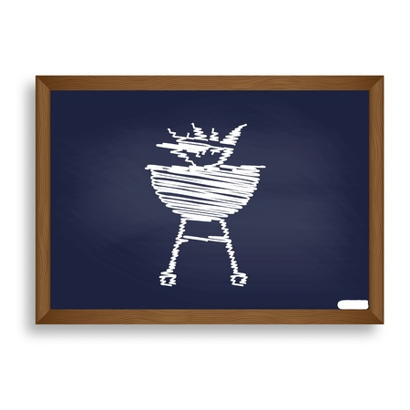Barbecue with fire sign. White chalk icon on blue school board with shadow as background. Isolated. Illustration