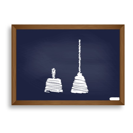 bristles: Dustpan vector sign. Scoop for cleaning garbage housework dustpan equipment. White chalk icon on blue school board with shadow as background. Isolated. Illustration