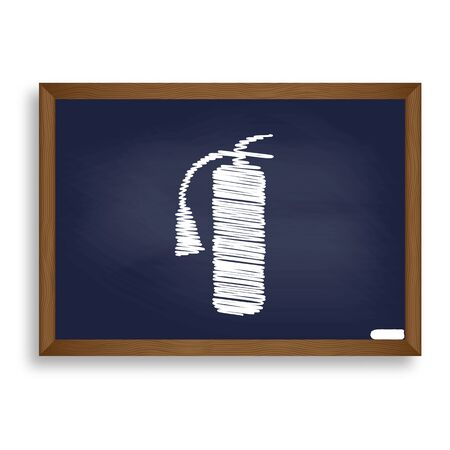 Fire extinguisher sign. White chalk icon on blue school board with shadow as background. Isolated.