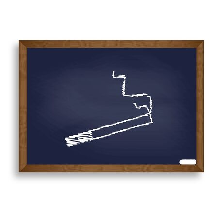 abstain: Smoke icon great for any use. White chalk icon on blue school board with shadow as background. Isolated.