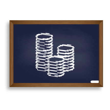 bribe: Money sign illustration. White chalk icon on blue school board with shadow as background. Isolated.