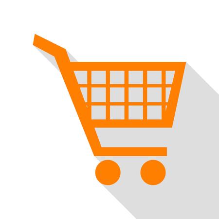 Shopping cart sign. Orange icon with flat style shadow path. Illustration