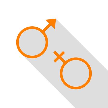 sex symbol: Sex symbol sign. Orange icon with flat style shadow path.