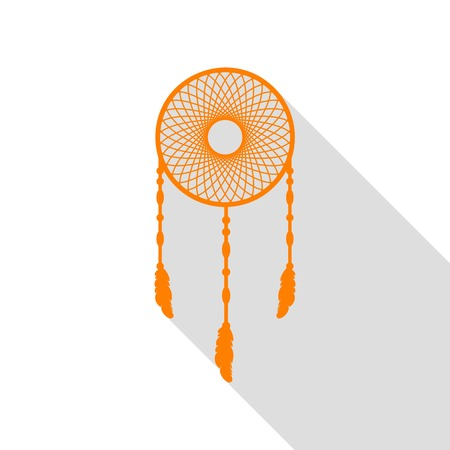 feathery: Dream catcher sign. Orange icon with flat style shadow path.
