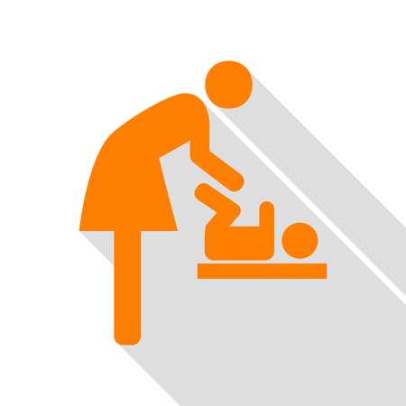 loo: Symbol for women and baby, baby changing. Orange icon with flat style shadow path.