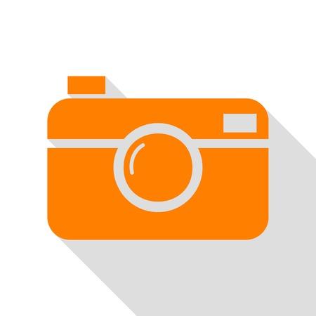 Digital photo camera sign. Orange icon with flat style shadow path. Illustration