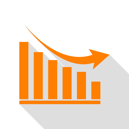 declining: Declining graph sign. Orange icon with flat style shadow path.