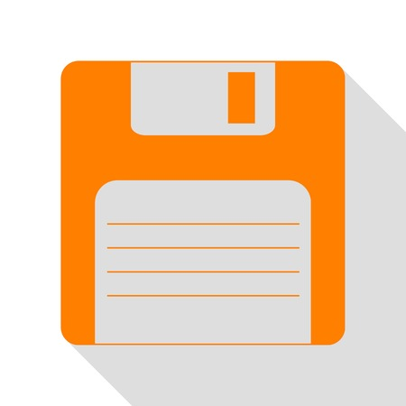 Floppy disk sign. Orange icon with flat style shadow path.