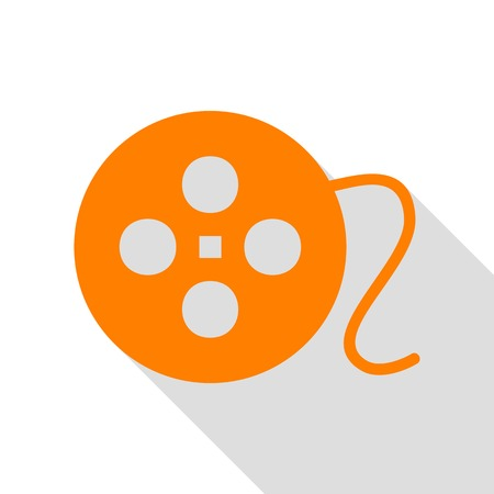 Film circular sign. Orange icon with flat style shadow path.