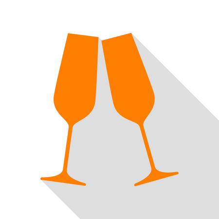 champagne orange: Sparkling champagne glasses. Orange icon with flat style shadow path. Illustration