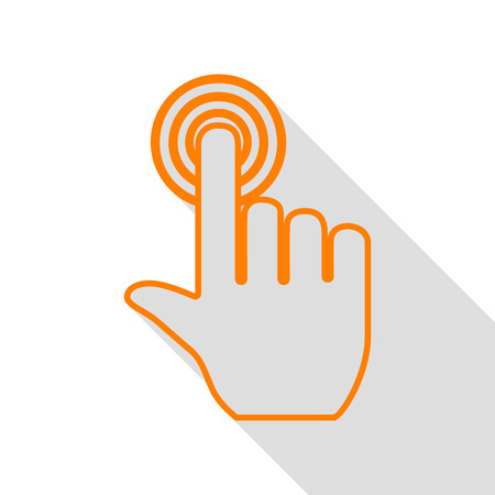 Hand click on button. Orange icon with flat style shadow path. Illustration