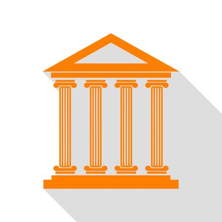 roman pillar: Historical building illustration. Orange icon with flat style shadow path. Illustration