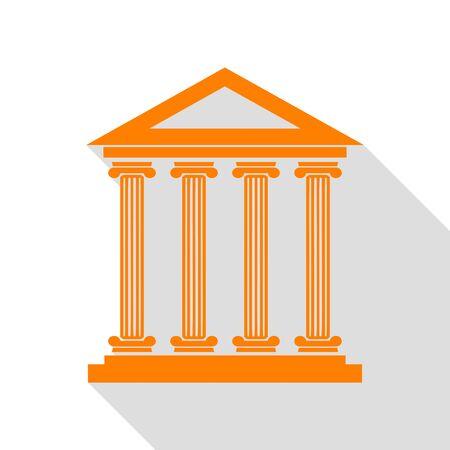 Historical building illustration. Orange icon with flat style shadow path. Illustration