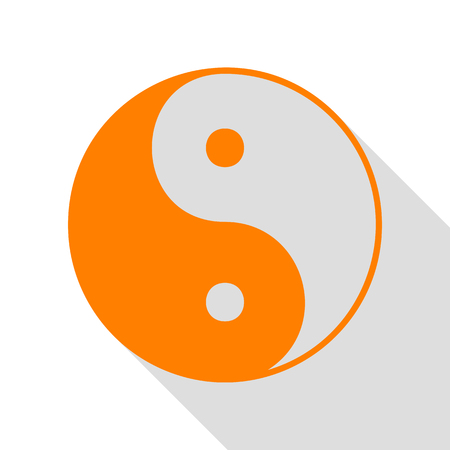 Ying yang symbol of harmony and balance. Orange icon with flat style shadow path.
