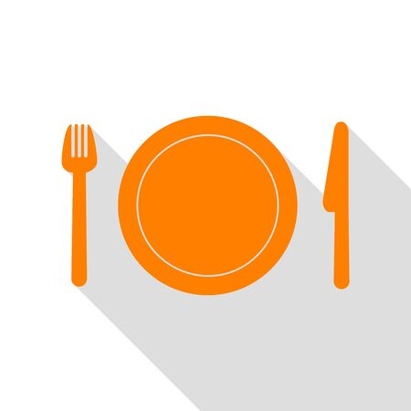 Fork, plate and knife. Orange icon with flat style shadow path.