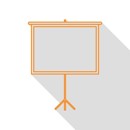 flat screen: Blank Projection screen. Orange icon with flat style shadow path.