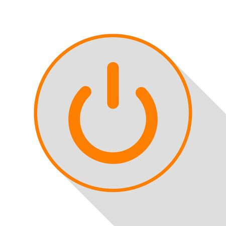 On Off switch sign. Orange icon with flat style shadow path. Illustration