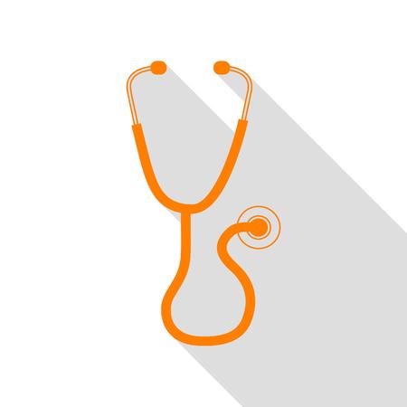 Stethoscope sign illustration. Orange icon with flat style shadow path.