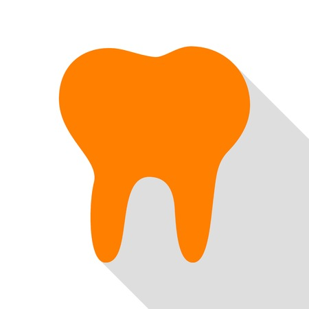 Tooth sign illustration. Orange icon with flat style shadow path.