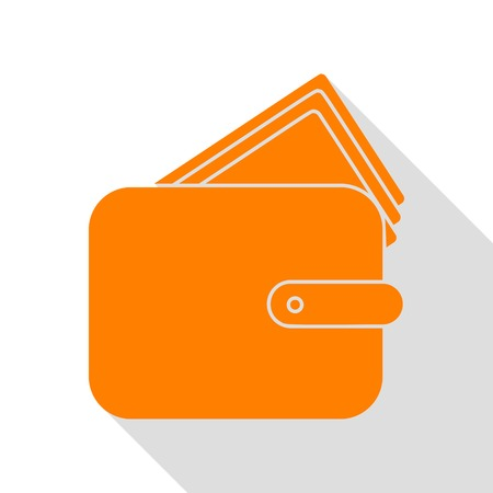 Wallet sign illustration. Orange icon with flat style shadow path.