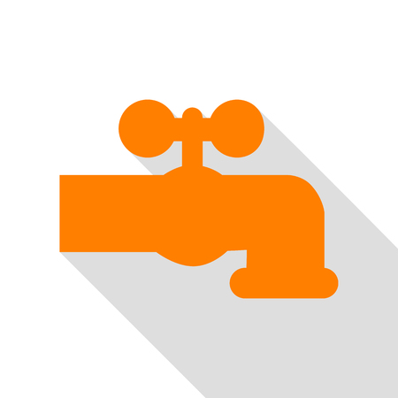 Water faucet sign illustration. Orange icon with flat style shadow path.