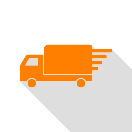 semitruck: Delivery sign illustration. Orange icon with flat style shadow path.