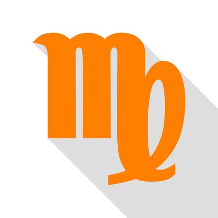 virgo: Ilustración de signo de Virgo. Icono naranja con la ruta de sombra de estilo plano. Vectores