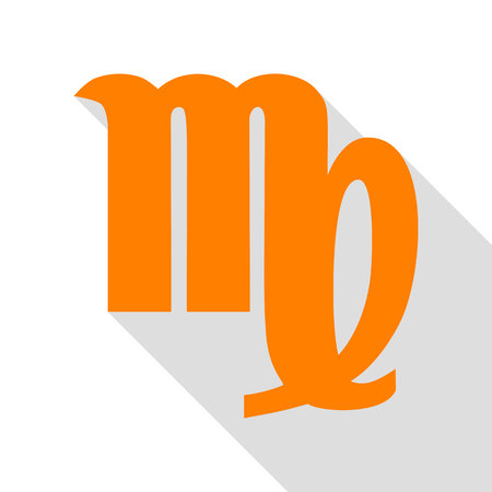 Virgo sign illustration. Orange icon with flat style shadow path.