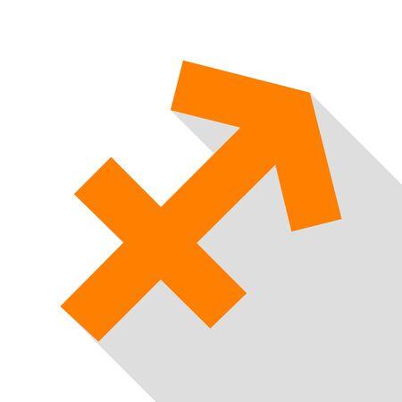 Sagittarius sign illustration. Orange icon with flat style shadow path. Illustration
