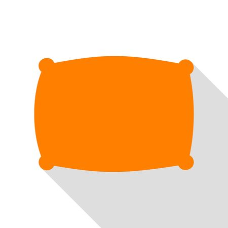 softy: Pillow sign illustration. Orange icon with flat style shadow path. Illustration