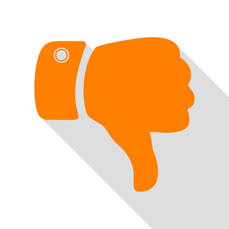 disapprove: Hand sign illustration. Orange icon with flat style shadow path.