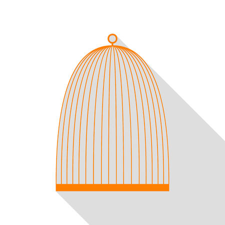 Bird cage sign. Orange icon with flat style shadow path.