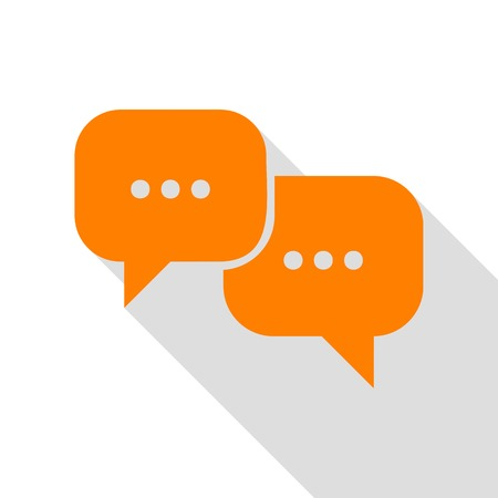 html5: Speech bubbles sign. Orange icon with flat style shadow path.