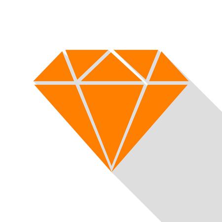 Diamond sign illustration. Orange icon with flat style shadow path.