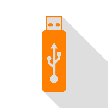 Vector USB flash drive sign. Orange icon with flat style shadow path.