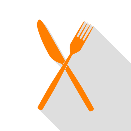 Fork and Knife sign. Orange icon with flat style shadow path.