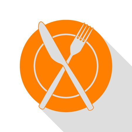 Fork, tape and Knife sign. Orange icon with flat style shadow path.