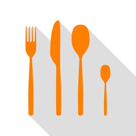 Fork spoon and knife sign. Orange icon with flat style shadow path.