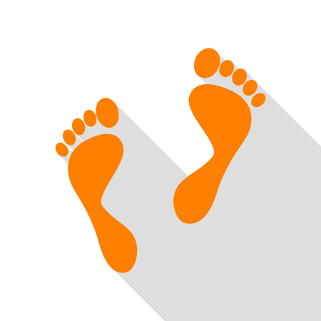 Foot prints sign. Orange icon with flat style shadow path.